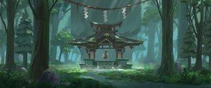 Rating: Safe Score: 54 Tags: forest hakurei_reimu japanese_clothes miko ren2211 shrine touhou tree User: RyuZU