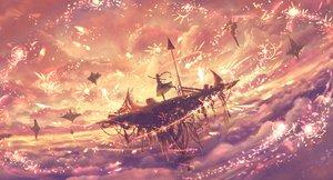 Rating: Safe Score: 71 Tags: airship bou_nin clouds dress long_hair original petals ponytail sky User: RyuZU