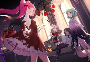 Rating: Safe Score: 54 Tags: animal_ears couch dark_skin dress gloves green_eyes green_hair group halloween horns long_hair male ohisashiburi original pumpkin purple_eyes red_eyes see_through tail twintails wings User: BattlequeenYume