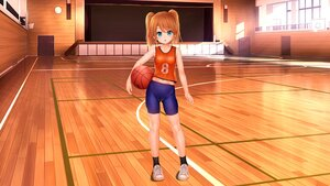 Rating: Safe Score: 24 Tags: aqua_eyes basketball bike_shorts blush brown_hair cameltoe endou_hiroto flat_chest gym_uniform loli original shorts sport third-party_edit twintails User: gnarf1975