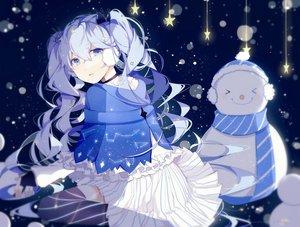 Rating: Safe Score: 124 Tags: blue_eyes blue_hair fuyu_no_yoru_miku hatsune_miku lococo:p long_hair snow snowman stars thighhighs vocaloid User: Flandre93