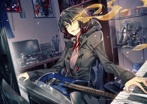 Rating: Safe Score: 95 Tags: bicolored_eyes black_hair black_rock_shooter book computer disgaea etna guitar insane_black_rock_shooter instrument kuroi_mato mawaru_penguindrum microphone original piano watermark wickedalucard User: Flandre93
