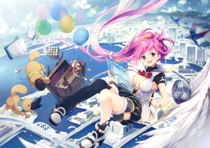 Rating: Safe Score: 92 Tags: animal bird book breasts cleavage clouds cropped long_hair original pink_hair ponytail purple_eyes scan senji_(tegone_spike) sky water wings User: Nepcoheart