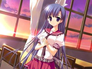 Rating: Safe Score: 65 Tags: feng game_cg hoshizora_e_kakaru_hashi koumoto_madoka long_hair purple_eyes purple_hair ryohka school_uniform sunset tie User: Wiresetc