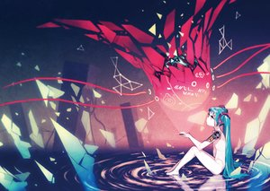 Rating: Safe Score: 139 Tags: aqua_hair asgr hatsune_miku long_hair nude red_eyes techgirl twintails vocaloid water User: Flandre93