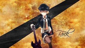 Rating: Safe Score: 96 Tags: bra guitar hat instrument open_shirt thighhighs tie underwear uni User: Karoola