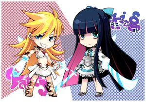 Rating: Safe Score: 55 Tags: 2girls gun katana panty_&_stocking_with_garterbelt panty_(character) stocking_(character) sword weapon User: HawthorneKitty