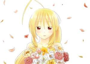 Rating: Safe Score: 29 Tags: blonde_hair flowers hayate_no_gotoku long_hair mizuki.n petals red_eyes tennos_athena white User: Freenight