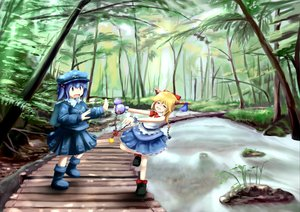 Rating: Safe Score: 11 Tags: blonde_hair blue_eyes blue_hair forest hat horns ibuki_suika kawashiro_nitori ribbons short_hair skirt touhou water User: w7382001