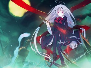 Rating: Safe Score: 61 Tags: bow clouds dress goth-loli gray_hair lolita_fashion long_hair moon night pantyhose purple_eyes ribbons ruroo sky sword twintails under_night_in-birth vatista weapon User: luckyluna