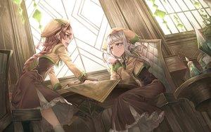 Rating: Safe Score: 53 Tags: 2girls book braids dress hat long_hair original ponytail purple_eyes shichigatsu uniform User: BattlequeenYume