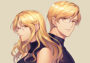 Rating: Safe Score: 39 Tags: blonde_hair close glasses long_hair male milcho original short_hair signed twins yellow_eyes User: otaku_emmy
