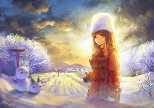 Rating: Safe Score: 56 Tags: clouds gloves hat miyai_haruki original scenic signed sky snow snowman sunset torii tree winter User: Flandre93