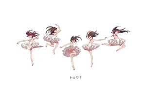 Rating: Questionable Score: 75 Tags: ass barefoot black_hair breasts brown_hair dress group long_hair mebae_(artist) nipples nopan original twintails white User: noitis
