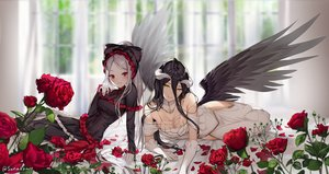 Rating: Safe Score: 106 Tags: 2girls albedo aliasing black_hair blush breasts cleavage demon dress elbow_gloves flowers gloves goth-loli gray_hair horns lolita_fashion long_hair overlord ponytail red_eyes rose shalltear_bloodfallen signed sunako_(veera) wings yellow_eyes User: BattlequeenYume
