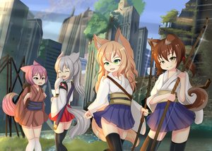 Rating: Safe Score: 20 Tags: animal_ears bow_(weapon) doggirl fang group hotel01 japanese_clothes loli original ruins tail thighhighs weapon wolfgirl User: gnarf1975