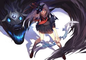 Rating: Safe Score: 326 Tags: animal aqua_eyes bow_(weapon) dj.adonis fire kindred lamb_(character) league_of_legends long_hair mask ribbons school_uniform skirt tattoo weapon white_hair wolf User: Flandre93