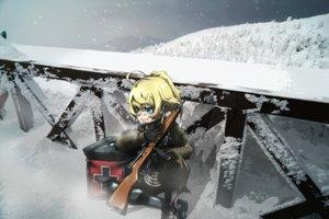 Rating: Safe Score: 18 Tags: aqua_eyes blonde_hair blush genya67 gloves gun short_hair snow tanya_degurechaff uniform weapon youjo_senki User: RyuZU