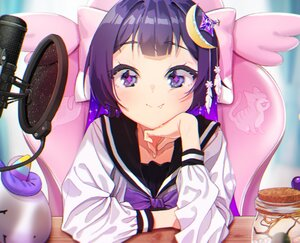 Rating: Safe Score: 56 Tags: agnamore blush bow close fang long_hair microphone original purple_eyes purple_hair school_uniform User: otaku_emmy