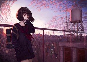 Rating: Safe Score: 22 Tags: black_hair brown_eyes building city clouds original rooftop scenic seifuku short_hair skirt sky sunset tagme_(artist) User: BattlequeenYume