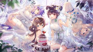 Rating: Safe Score: 96 Tags: ass blush brown_hair cake chinese_clothes chinese_dress dress drink ekita_xuan elbow_gloves flowers food gloves gray_hair group houchi_shoujo long_hair purple_hair rose tagme_(character) twintails wedding_attire User: BattlequeenYume