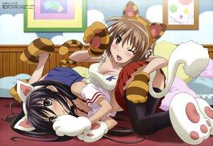 Rating: Safe Score: 120 Tags: 2girls animal_ears black_hair brown_hair catgirl cosplay megami scan shakugan_no_shana shana tail wink yoshida_kazumi User: Wiresetc