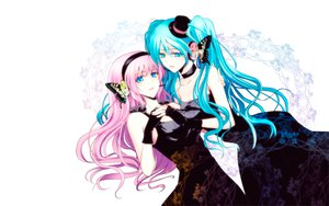 Rating: Safe Score: 74 Tags: 2girls dress gloves hat hatsune_miku headphones magnet_(vocaloid) megurine_luka tomoe_kiko vocaloid yuri User: FormX