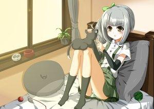 Rating: Safe Score: 69 Tags: animal brown_eyes cat drink eiyuu gray_hair kantai_collection kasumi_(kancolle) panties socks striped_panties underwear User: Wiresetc
