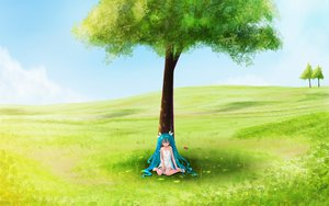 Rating: Safe Score: 45 Tags: animal bird dress hatsune_miku scenic sleeping summer_dress tree vocaloid User: rargy
