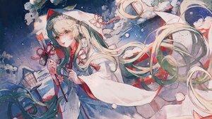 Rating: Safe Score: 44 Tags: green_eyes green_hair hatsune_miku headband hoodie japanese_clothes kimono long_hair maccha_(mochancc) snow vocaloid wedding_attire yuki_miku User: Fepple