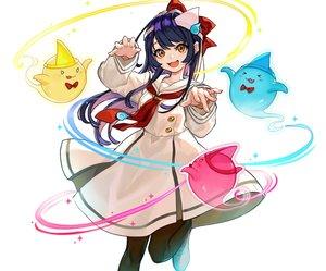 Rating: Safe Score: 40 Tags: blue_hair blush cat_smile chunithm cropped dress headdress long_hair magic orange_eyes pantyhose school_uniform shishido_misuzu tie white yuu_(higashi_no_penguin) User: otaku_emmy