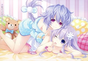 Rating: Safe Score: 115 Tags: 2girls blue_eyes bow braids breasts cleavage dress hyperdimension_neptunia hyperdimension_neptunia_v long_hair manamitsu nepgear pajamas pink_eyes ponytail purple_hair pururut teddy_bear wink User: BattlequeenYume