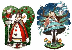 Rating: Safe Score: 50 Tags: 2girls alice_in_wonderland alice_(wonderland) animal blonde_hair breast_hold breasts brown_hair cape cat cheshire_cat choker cleavage dress flowers gloves headband instrument long_hair pantyhose queen_of_hearts rabbit rose short_hair staff tree white_rabbit yellow_eyes yuu_(higashi_no_penguin) User: Dreista