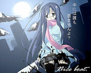 Rating: Questionable Score: 43 Tags: blood katsura_kotonoha moon scarf school_days sword thighhighs weapon User: atlantiza