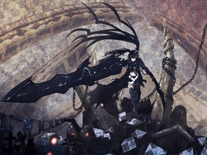 Rating: Safe Score: 116 Tags: armor black_hair black_rock_shooter boots chain insane_black_rock_shooter kuroi_mato shorts sword twintails weapon yazuo User: STORM