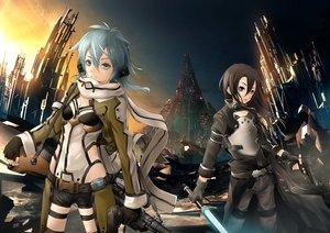 Rating: Safe Score: 132 Tags: ajigo gun gun_gale_online kirigaya_kazuto shinon_(sao) sword sword_art_online weapon User: FormX