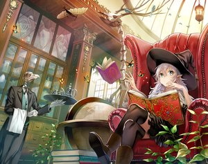 Rating: Safe Score: 99 Tags: bones book boots butterfly couch gloves green_eyes hat kirinosuke long_hair mage original thighhighs white_hair witch witch_hat User: RyuZU