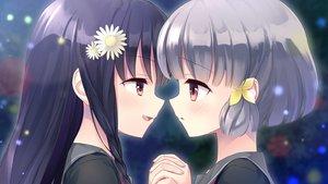 Rating: Safe Score: 33 Tags: 2girls black_hair blush braids close flowers game_cg gray_hair headdress hiraoka_mutsuki kamitsure_~7_no_nijou_fushigi~ long_hair mizuki_kotora red_eyes school_uniform short_hair shoujo_ai twintails yurigaoka_nanami User: mattiasc02
