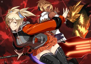 Rating: Safe Score: 73 Tags: 2girls alisa_ilinichina_amiella blonde_hair god_eater real_xxiii red red_eyes short_hair skirt thighhighs weapon yellow_eyes User: Kunimura