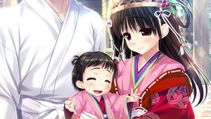 Rating: Safe Score: 20 Tags: black_hair blush clochette game_cg haruru_minamo_ni! headdress japanese_clothes loli long_hair male red_eyes shintaro short_hair yamagami_miori User: RyuZU