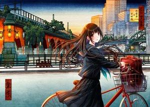 Rating: Safe Score: 77 Tags: bicycle brown_hair building city kazuharu_kina long_hair orange_eyes original scenic seifuku skirt User: RyuZU