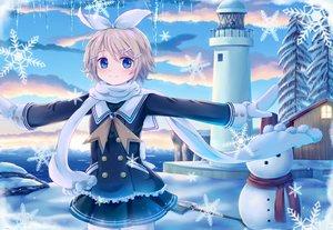 Rating: Safe Score: 65 Tags: blonde_hair blue_eyes building clouds kagamine_rin sakakidani scarf school_uniform short_hair snow snowman tree vocaloid water User: luckyluna