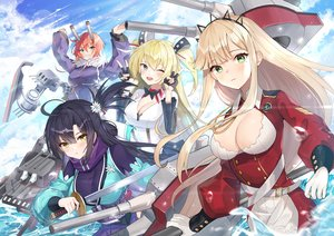 Rating: Safe Score: 51 Tags: anthropomorphism blue_oath breasts cleavage cleveland_(blue_oath) dopoing group hood_(blue_oath) katana long_hair mechagirl sword tagme_(character) water weapon User: Dreista