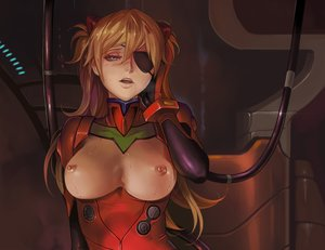 Rating: Questionable Score: 140 Tags: blue_eyes blush bodysuit breasts brown_hair cropped dantewontdie eyepatch gloves long_hair neon_genesis_evangelion nipples soryu_asuka_langley User: SciFi