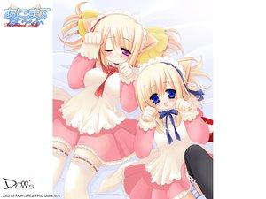 Rating: Safe Score: 21 Tags: animal_ears blonde_hair blue_eyes blush bow catgirl headdress maid panties ribbons striped_panties thighhighs underwear wink User: Oyashiro-sama