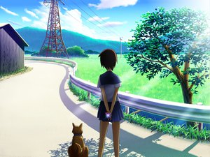 Rating: Safe Score: 39 Tags: animal brown_hair clouds dog grass landscape original scenic seifuku short_hair sky tree User: SciFi