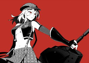 Rating: Safe Score: 246 Tags: alisa_ilinichina_amiella breasts cleavage god_eater hat polychromatic real_xxiii red red_eyes skirt weapon User: Domon