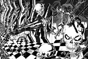 Rating: Safe Score: 44 Tags: bikini_top black_rock_shooter boots chain gun horns kuroi_mato monochrome scythe skull sword takanashi_yomi todee twintails weapon User: PAIIS