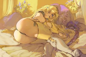 Rating: Questionable Score: 87 Tags: ass bed blonde_hair blue_eyes celes_chere cutesexyrobutts final_fantasy final_fantasy_vi flowers headband long_hair panties sketch sword thighhighs underwear weapon User: BattlequeenYume