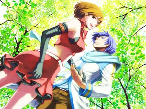 Rating: Safe Score: 14 Tags: blue_eyes blue_hair brown_eyes brown_hair elbow_gloves forest kaito meiko short_hair skirt vocaloid User: HawthorneKitty